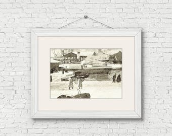 Vintage Christmas In Herfordshire Instant Download