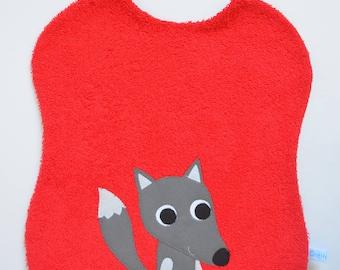 Large bib Wolf applique red elastic!