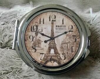 Vintage retro clock Paris Eiffel Tower glass cabochon silver round Pocket mirror