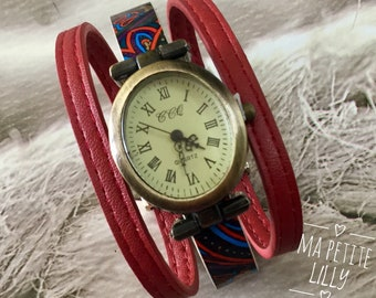 Original watch women size S watch cuff oval bronze metal bracelet red leather and multicolor original woman watch