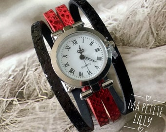 Ladies watch. SIZE M bracelet silver round red and black wrist watch red