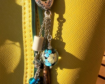 Wooden Keychain with charms pendants glass and ceramics.
