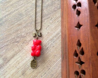 Necklace little red bear: