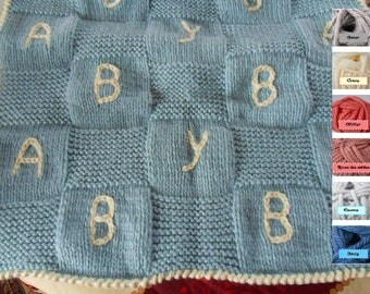 Blue checkered blanket knitting pattern