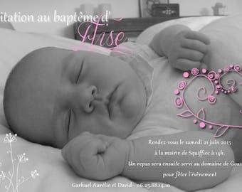 Girl flowers and hearts with photo baptism invitations cheap