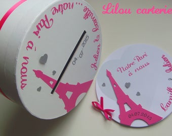 Wedding urn round PARIS theme