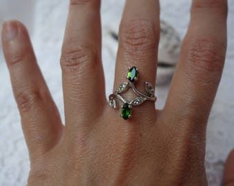 Silver ring, T56 diopside 5