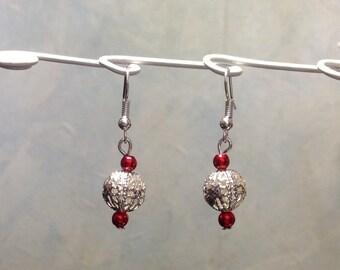Earring 3 beads, silver earwires