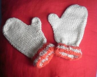 Fingerless mittens wool two-tone cream/orange