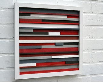 Framed abstract wood art