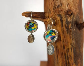 Earrings dangle earrings 925 sterling silver and abstract paper