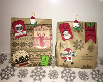 Christmas scrapbooking Kraft gift bags