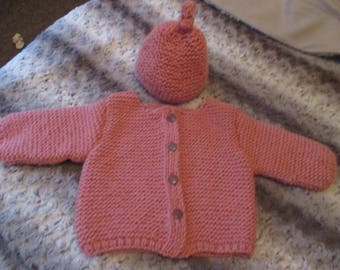 Warm and soft coat and matching hat (made to order)