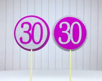 """30th Birthday Cupcake Toppers - Silver Glitter & Hot Pink """"30"""" - Set of 12 - Elegant Cake Cupcake Age Topper Picks Party Decorations"""