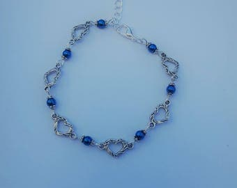 Delicate hearts and genuine blue Hematite bracelet