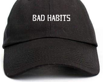 Bad Habits Dad Hat Adjustable Baseball Cap New - Black