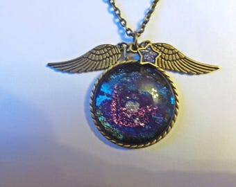 Winged glitter Galaxy necklace