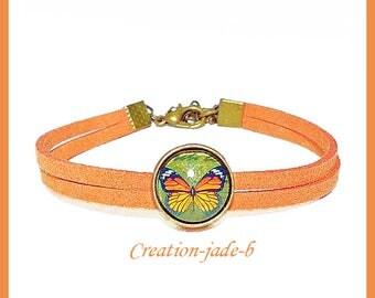 Suede - little girl Orange/yellow Cabochon bracelet