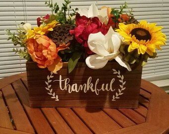 Fall Floral Arrangment- Thankful- Sunflowers- Magnolia- Pumpkin- Fall Decor- Thanksgiving Decor *PRICE DROP*