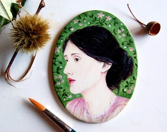 Celebrity portrait hand painted on wooden plaque