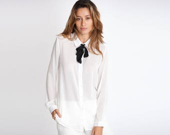 Sheer White Button Down with Black Tie