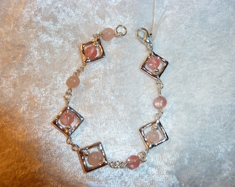 Genuine ROSE quartz gemstone bracelet