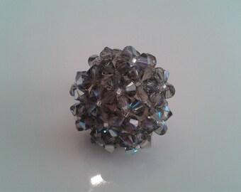 Ring oval Swarovski Black Diamond Crystal