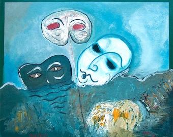 Floating masks. Oil on hardboard
