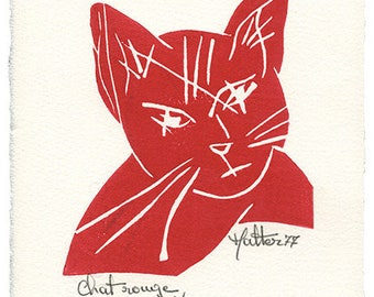 Red cat. Linocut on Velin D'arches paper ivory