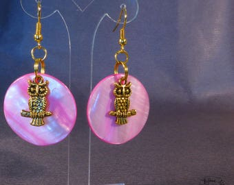 Owls - pink and Pearl Earrings