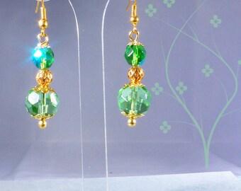 Crystal - green and gold balls