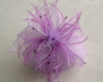 Purple organza flower brooch, feathers and beads