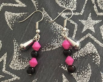 Earrings pink and black jewelry fantasy