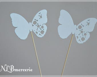 Butterfly on stem to accessorize your decor or floral set of 2