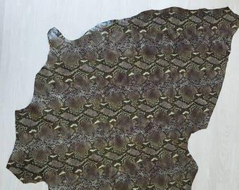 Pieces 100% calf imitation python leather