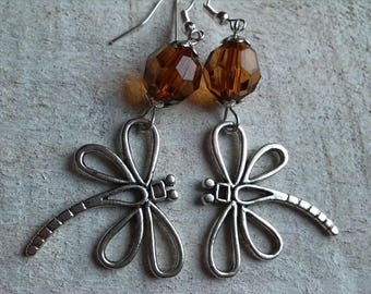 Amber bead and large Dragonfly earrings