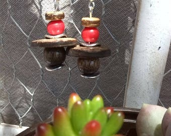 Nature earrings seed, coconut and wood