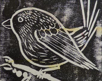 Lino cut Finch print