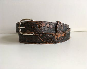 Embossed leather belt handcrafted skull pattern