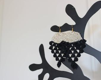 """Pineapple"" style hook earrings"