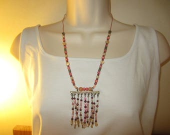 Pink Bohemian Style pendant necklace