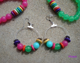 Colorful hoop earrings, 4 cm, yellow, turquoise, pink, green, summer