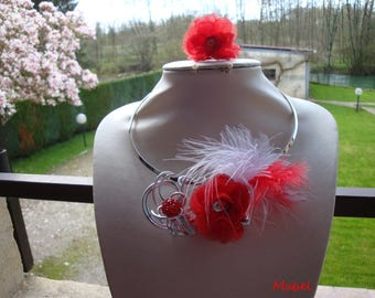 Red wedding, red and white feather and organza flower, single shamballa Bead Necklace