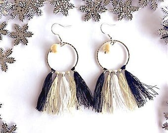 Silver ring earrings and tassels in three colors