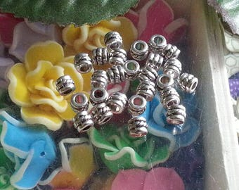 10 beads spacers, lead & nickel free & cadmium free, silver ring, antique, about 5 mm in diameter, length