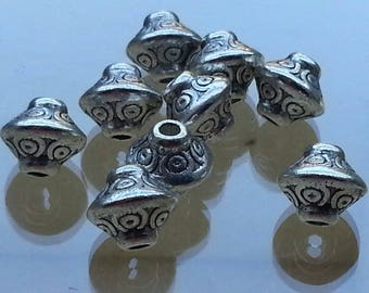 10 dividers separators, spacer beads, antique silver lead free, 6.5 mm, hole: 4 mm