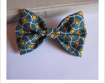 Bow tie and clip hair 2 in 1 green, blue and yellow