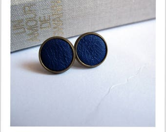 Stud Earrings blue leather fabric