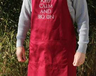 "Large size apron embroidered ""Keep calm and bbq on"" with Burgundy Red, great color Pocket"