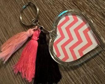 tassel and photo keychain